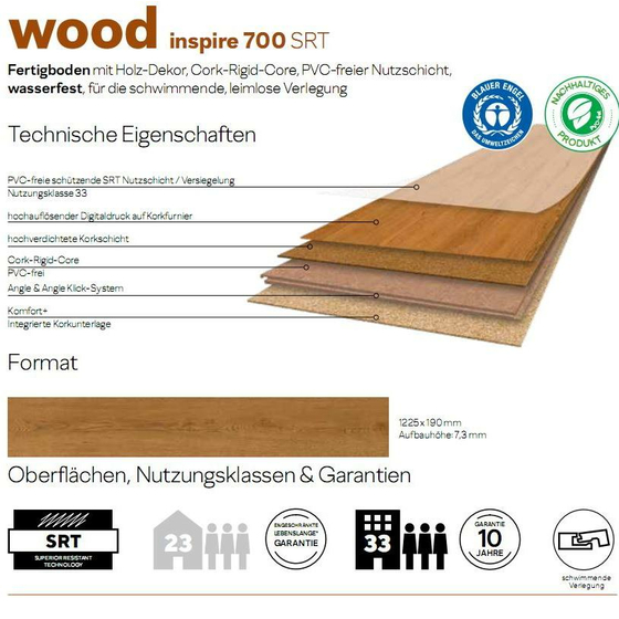 Amorim Wood Wise Professional - Natural Light Oak AEUM001 | Rigid-Korkboden